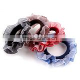Satin Scrunchies Hair Ponytail Plain Organza Scrunchies High Quality Elastic Tie Nylon Stretch Hair Elastic Holder
