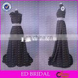 CE599 Simply One-shoulder Floor Length Black Chiffon Mother Of the Bride Beach Wedding Dress