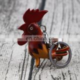 custom wholesale souvenir genuine leather rooster keychain