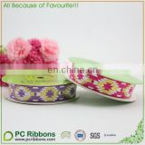 16mm gold foil printed fold over elastic ribbons tropic for headwear women