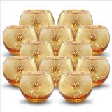 Speckled gold Round Mercury Glass Votive Candle Holders