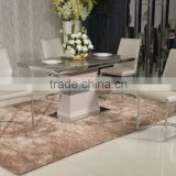Hot sale Stainless steel finish High gloss color dining table with Tempered glass top PDT14904