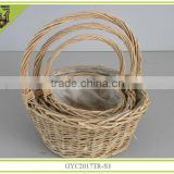 withlining/ handle handmade willow basket