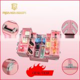 High quality aluminum cosmetic makeup suitcases aluminum makeup kit case cosmetic box frosted ziplock bag