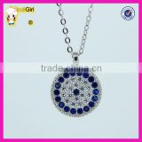 Popular turkish evil eye necklaces, 925 sterling silver blue and white zircon blue eye necklace