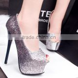 fashion glitter wedding party platform glass high heel shoes                                                                         Quality Choice