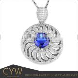 CYW single big stone 2015 new Design silver Pendant jewelry for necklace 925 sterling silver jewellry