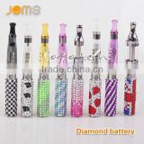 Crystal battery vaping battery diamond colorful blinged ego battery factory price 650mah