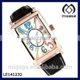 Luxury White Dail Black Leather Band Women Sport Gold Case Date Analog Watch Colorful numeral easy to read analog watch