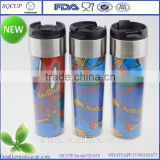 2016 new stainless steel mug with paper insert, double wall insulated starbucks mug,eco-friendly travel mug
