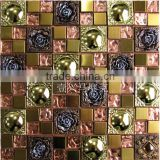 3D effect rose interior decoration material metal mosaic mix glass mosaic,resin mosaic tiles for background decore