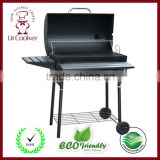HZA-J802 Heat Resistant Barbecue Charcoal Grill with Wheels Home Outdoor Patio Garden Backyard Cooking Grilling