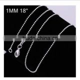 2015 factory wholesale fashion 925 sterling silver plated Jewelry pendant DIY 1MM round bead chains for necklaces