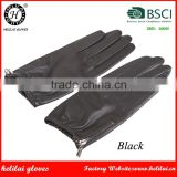 Helilai Unisex Women Mens Black Driving Tight Cuff and Zipper Nappa Leather Gloves