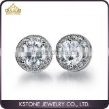 KSTONE 2015 shiny white gold stud earring with CZ black stone
