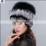 Fashion Designer real rex rabbit fur Western style knitted winter ladies hat with fox fur on top