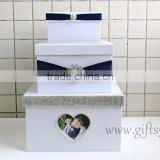 Elegant purple wedding money box in handmade with photo frame wedding accessories