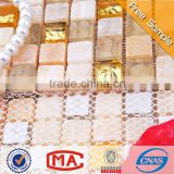 LJ JTC-1304 Beige Natural Stone Mix Golden Glass Mosaic Mesh Backed Floor Tiles Portugal Tiles Style Living Room Floor Tile