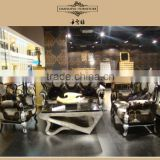 Luxury classical solid wood black with silver color sofa 3074D#