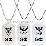 Women Men stainless steel smooth Pokemon Go cartoon character pendant bead chain necklace