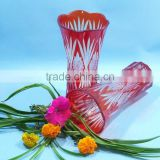 2014 new hand blown double color glass vase