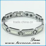 Trendy Tungsten Bracelet for men,inlay energy magnetic stone or germanium tables could be customized