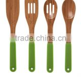 2017 Fashion bamboo kitchen utensil scoop with silicon handle