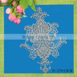 Factory sale custom sew on embroidered beaded stone appliques patches
