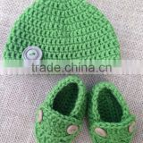 Hot Sale Autumn Winter Baby Toddler Crochet Wool Shoes Set Cute Style Infant Hand Knit Shoes