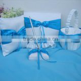 2014 best selling ocean theam blue satin wedding guest book and pen set with bowknot, ring pillow , flower basket , garter