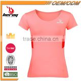 BEROY custom fitness women gym cycling running sports t-shirt for wholesale
