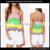 Tie dye brazil tank top, wholesale rainbow tank top women