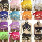 BestDance 3 ROWS Belly Dance Skirt Scarf Hip Wrap Belt Chiffon gold Silver Coins Low Price