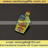 Bottle shape metal badges with hard enamel and green glitter, made of brass/iron/zinc alloy