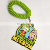 Cartoon characters plastic PVC rubber keychain with elastic loop