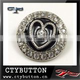 CTYRB-0 (96)beautiful heart shape metal rhinestone button for clothing
