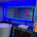 Blue light bathroom light mirror with magnifying glass smart home mirror time function can be customized