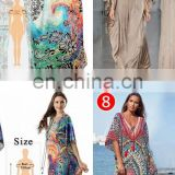 Beach Wear Swimsuit Cover Up Women Embroidery Beach Dress Tunic Robe Female Bikini Cover-Ups Gold Color Long Kaftan