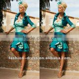 Slim Short Sexy Cyan V-neck Stand Collar With Jacket Party Dress