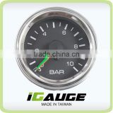 52mm Black Face Chrome Rim Mechanical Dual Air Pressure Gauge