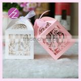 Customized name&date & size laser cut gift box foldable sweet wedding candy box love brid design with free ribbon