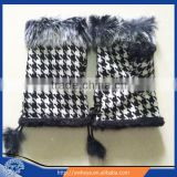 2015 fashion newly Swallow Gird rabbit fur fingerless gloves hot-selling safety winter gloves wholesale