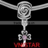 Vnistar antique silver plated pink leaf shaped europenan crystal dangle beads stock wholesale for bracelet&DIY jewelry PBD3223