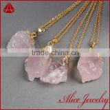Wholesale natural angel aura quartz crystals ruby rose gold jewelry pendant necklace