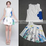 2014 Famous brand early autumn fashion style sleeveless swan printed women 2 pieces dress suits wholesale I17063