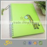 pvc waterproof notebook, a4 paper spiral notebook with dividers