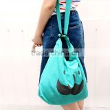 Mulitfunction fashion eco friendly canvas shopping bag colored stodent bag, can soulder/cross body/handle