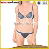Women sexy mini black push up bra with g-string hot sexi girl wear sexy bra panty set                                                                                                         Supplier's Choice