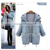 2014 Light Blue Thick Warm Fleece Lined Hooded plus size winter Denim Coat +Waistcoat
