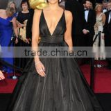 Camila Alves luxurious Taffeta Black Deep V Neck 2011 0scar party dress ball gown Celebrity Dress TPD234